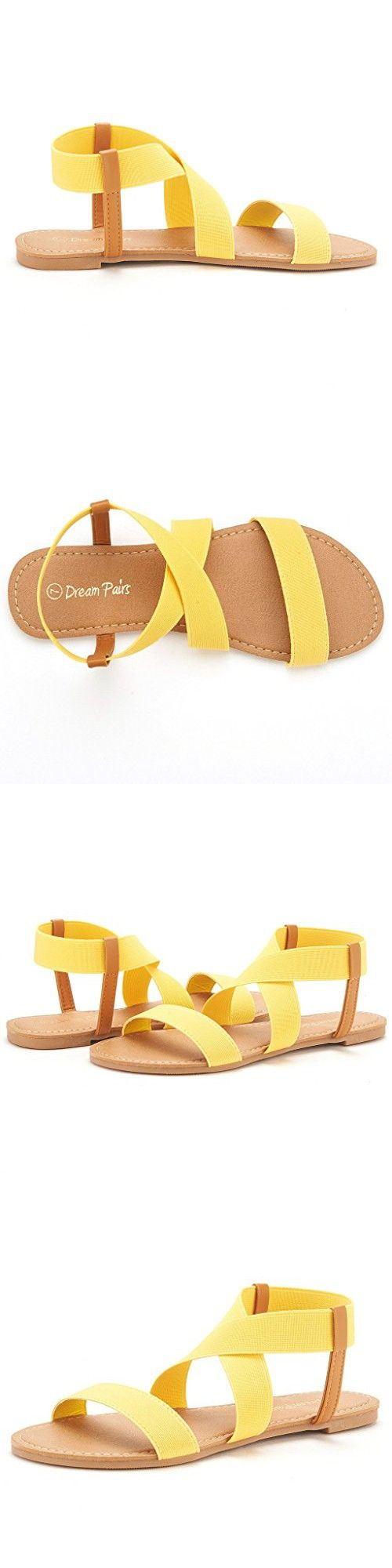DREAM PAIRS ELASTICA Women Summer Fashion Design Open -Toe Elastic Ankle Strap Gladiator Flat Sandals YELLOW SIZE 11