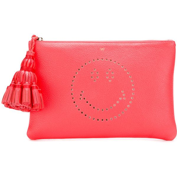 Anya Hindmarch Georgiana Smiley clutch ($432) ❤ liked on Polyvore featuring bags, handbags, clutches, red leather handbags, leather handbags, anya hindmarch purse, leather clutches and red purse
