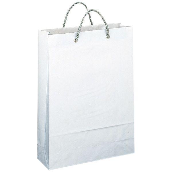 ビニールカバー付き手提げ紙袋 丸紐 白 無地 大 1セット(90枚) スーパーバッグ
