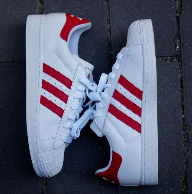 adidas Originals Superstar 2 - White & Light Scarlet Red (2)