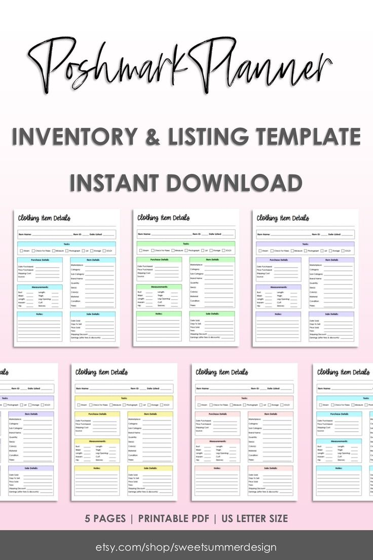 Reseller Listing Template, Clothing Item Details Sheet