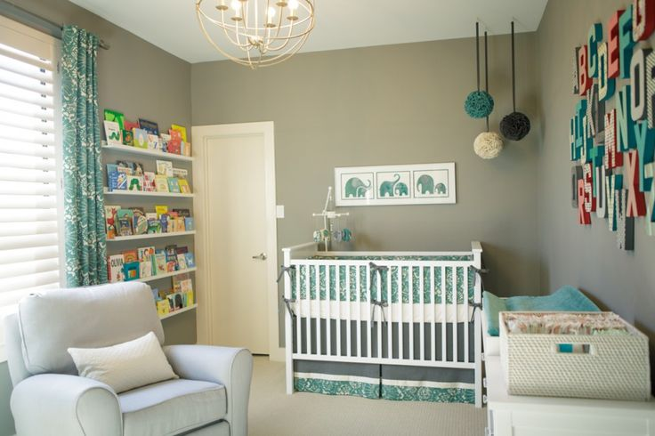 Simple, classic gender neutral nursery with elephant accents - #nursery #genderneutral: Bookshelves, Elephants Nurseries, Alphabet Wall, Color Schemes, Book Shelves, Projects Nurseries, Baby Rooms, Nurseries Ideas, Gray Nurseries