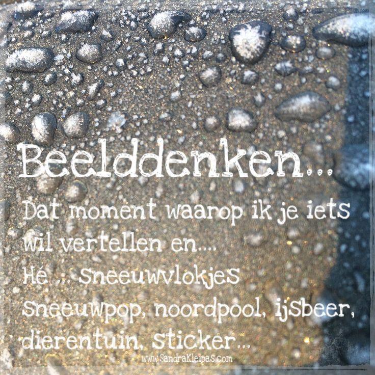 Beelddenken... Dat moment waarop ik je iets wil vertellen en.... Hé ... sneeuwvlokjes sneeuwpop, noordpool, ijsbeer, dierentuin, sticker #spreukvddag www.SandraKleipas.com