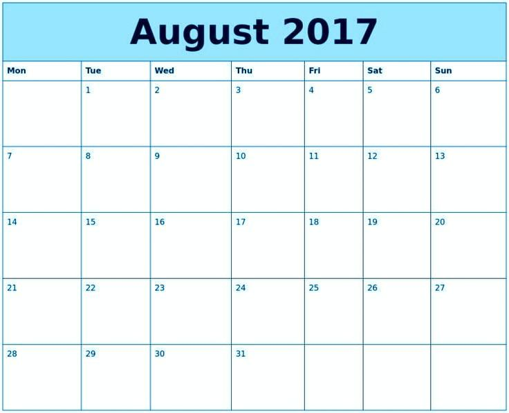 August 2017 Calendar Printable Template \u2013 Quotes Images Pictures