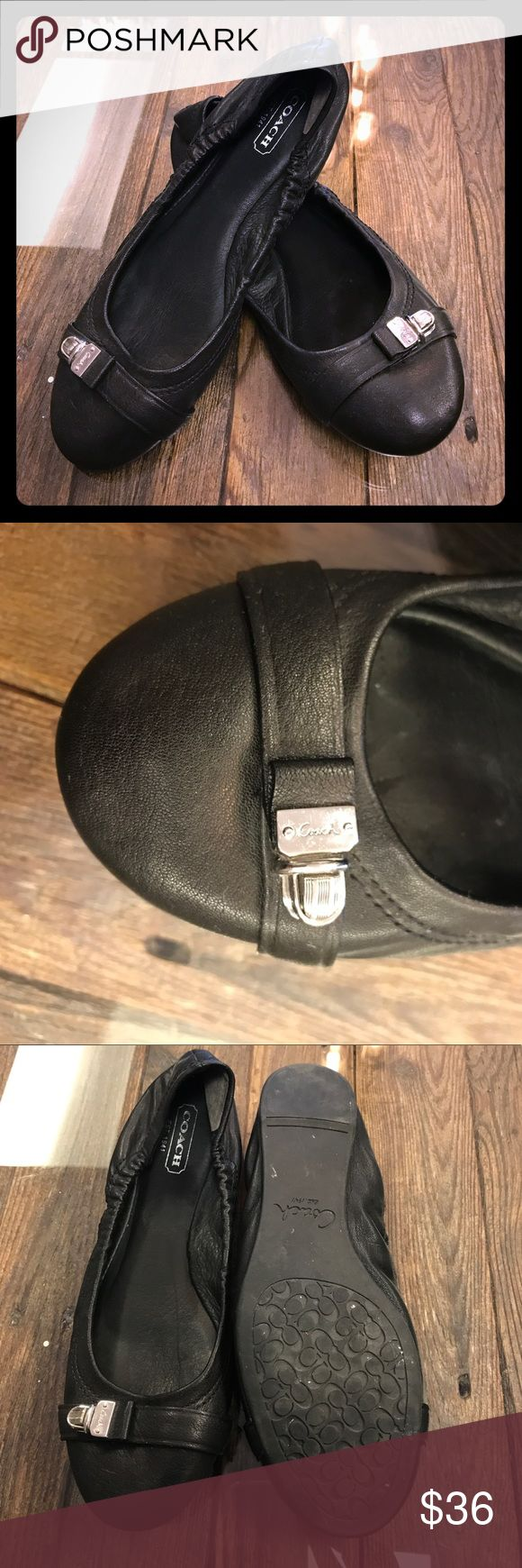 BLACK COACH FLATS Black Coach flat with silver buckle on toe with coach name. Worn a few times and in good condition Coach Shoes Flats & Loafers