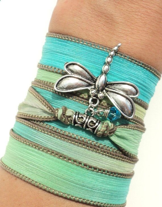 Yoga Silk Wrap Bracelet Dragonfly Jewelry by BohemianEarthDesigns, $26.95