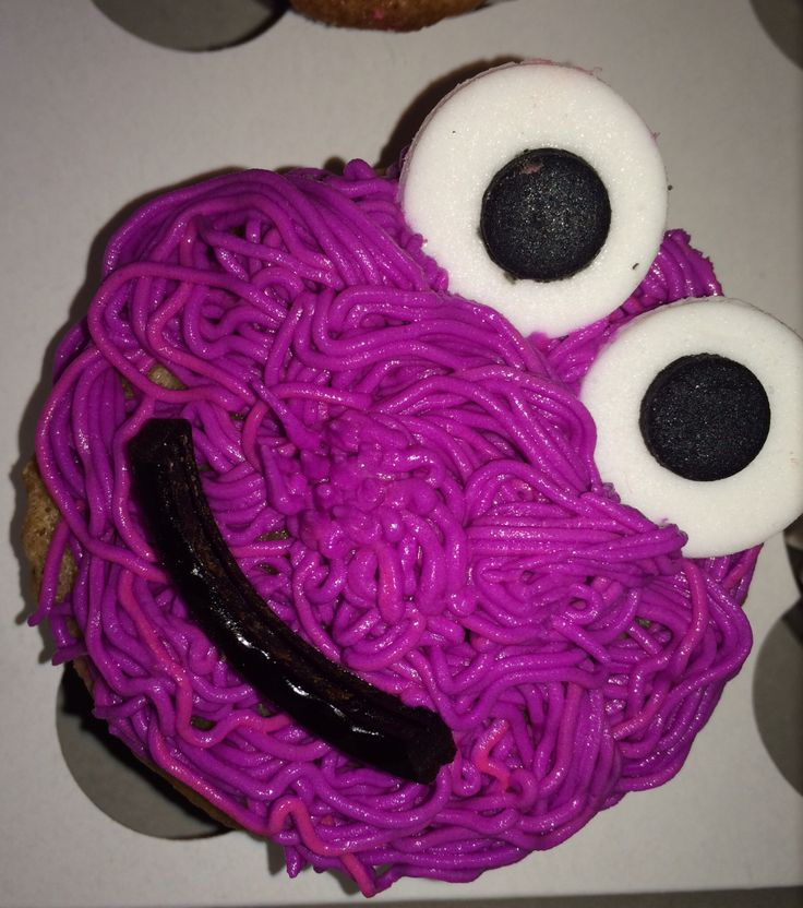Purple monster cupcake