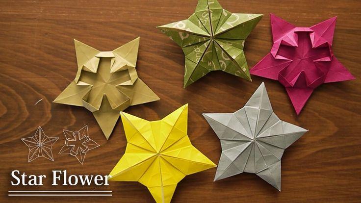 折り紙1枚の星★★Star Flower【Origami Tutorial】星の花