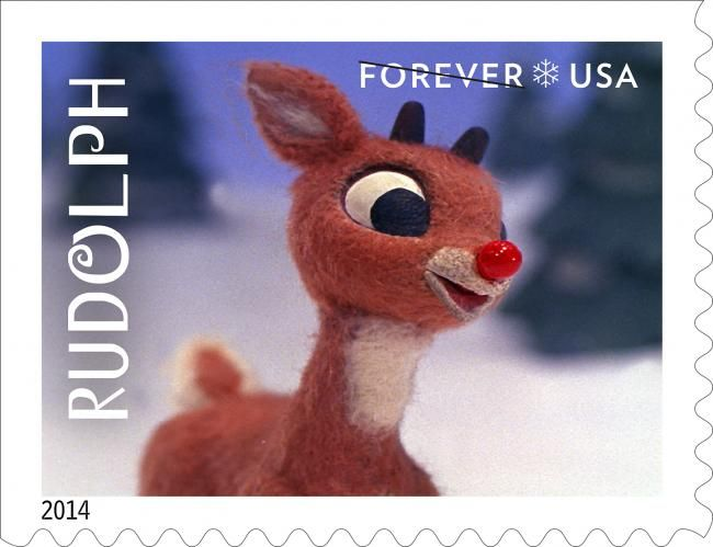 "On the evening of December 6, 1964, families across the country sat down to watch a new TV show for the first time: an animated special called ""Rudolph the Red-Nosed Reindeer."" The hour-long show went on to become a beloved holiday tradition. This year Rudolph and his friends will bring their own brand of joy and nostalgia to four new Forever® stamps featuring still frames from the special. Rudolph will take center stage on a stamp of his own."