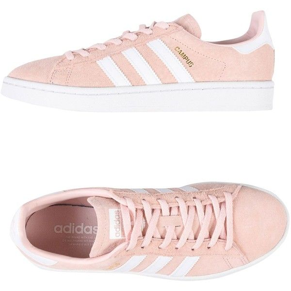 Adidas Originals Low-tops & Sneakers ($130) ❤ liked on Polyvore featuring shoes, sneakers, pink, round toe sneakers, leather shoes, flat shoes, adidas originals shoes and adidas originals trainers