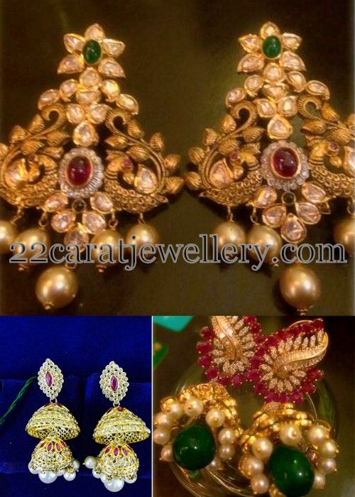 Jewellery Designs: Pachi and Uncut Diamond Hangings