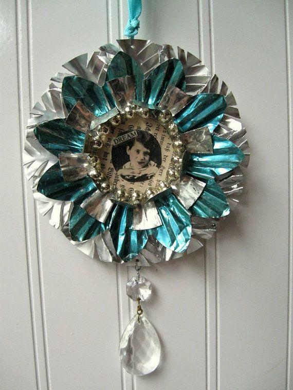 Tart Tin Ornament Upcycled Vintage Handmade Altered Art