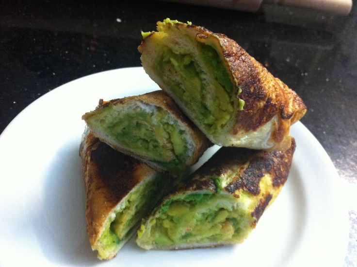 French toast roll ups filled with avocado!