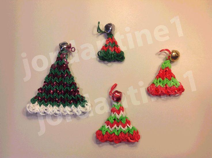 Loom Knit Christmas Ornaments Part - 46: How To Make A Rainbow Loom Christmas Elf Hat Charm Or Ornament - Horizon.