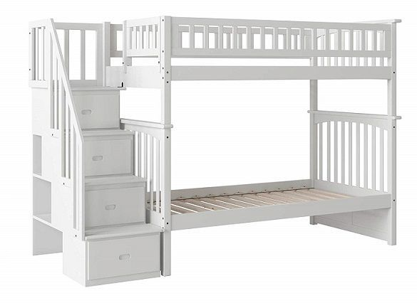 Ogden White Bunk Bed With Stairs With Images Bunk Beds With
