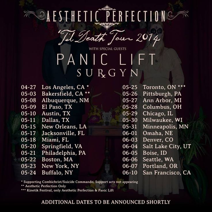 """NEWS: The electro-alternative group, Aesthetic Perfection, has announced dates for their upcoming """"'Til Death Tour 2014."""" They will be joined by supporting acts, Panic Lift and Surgyn. You can check out the dates and details at http://digtb.us/aestheticperfection"""