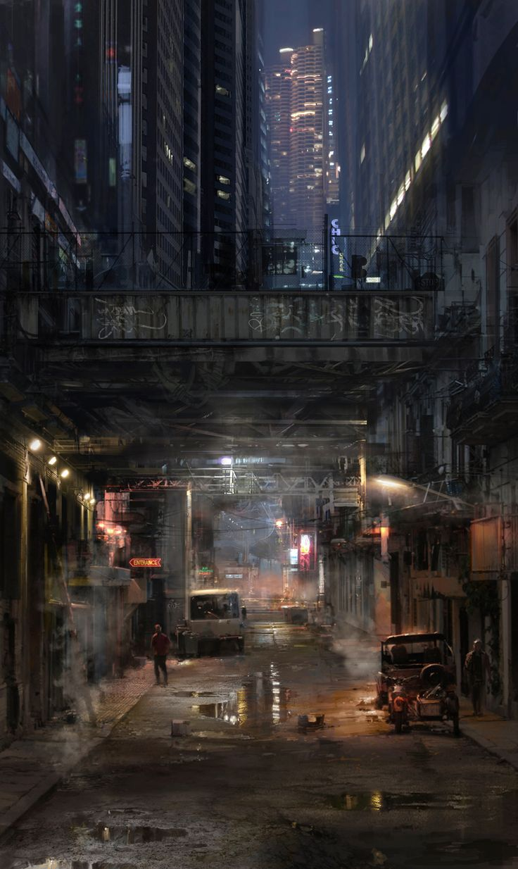 This underpass by atomhawk on deviantART captures the cold, wet street feel central to a cyberpunk theme.