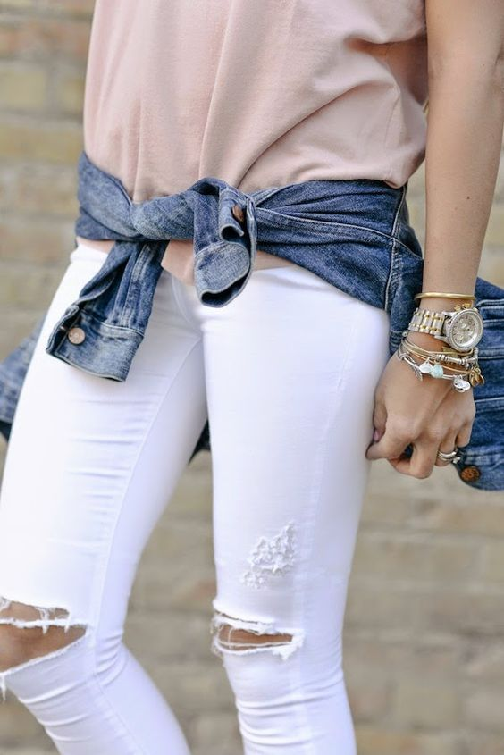 early spring outfit. distressed white jeans