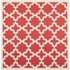 Courtyard Red/Bone (Red/Ivory) 4 ft. x 4 ft. Indoor/Outdoor Square Area Rug