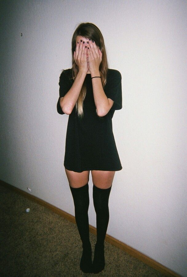 Grunge style, black dress with black socks