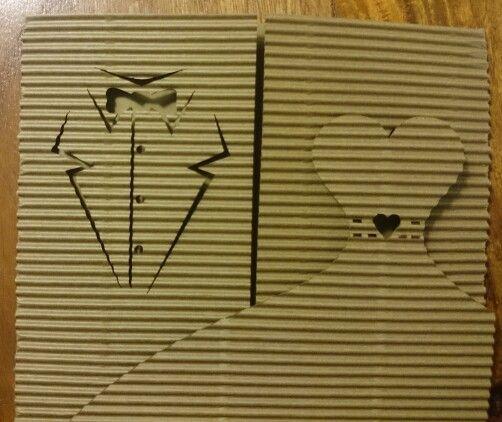 Partecipazione di nozze taglio laser con cartoncino mille onde havana