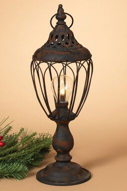 "17.25"" Lighted Metal Antique Battery Operated Lantern"