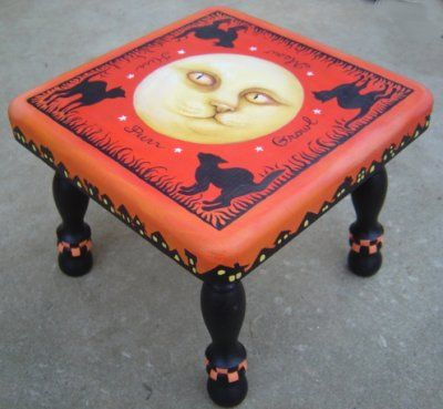 Cat in the Moon Foot Stool - bird's eye view by Grim Prim's Deborah Sweigart