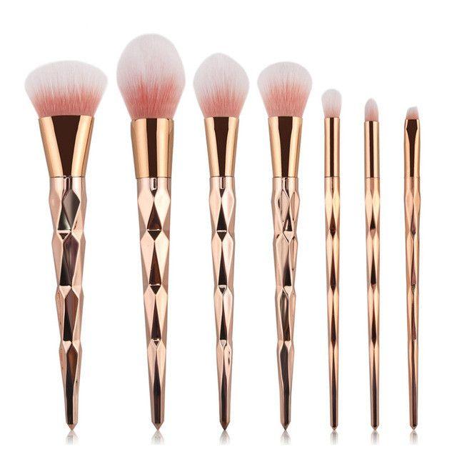 Luxe- Brush Unicorn Rose Gold Brush Makeup Brushes Set 7pcs Rhinestone Tools Powder Foundation Eye Lip Concealer Face colorful Brush Kit