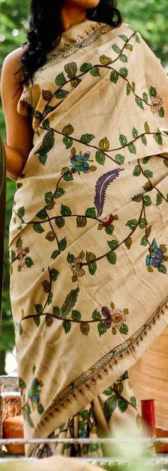 Kanishka's Kora - handwoven sarees by local weavers - Tussar with Kalamkari