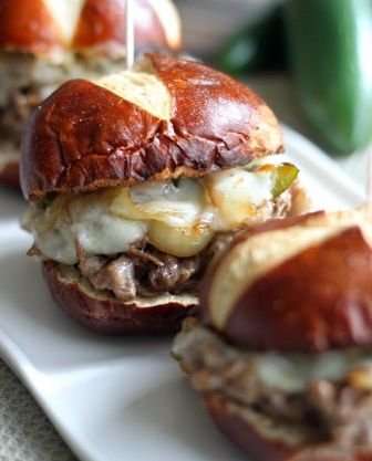 Spicy Jalapeno Philly Cheese Steak Sliders ..you can get the yummy pretzel rolls at wal-mart,,,