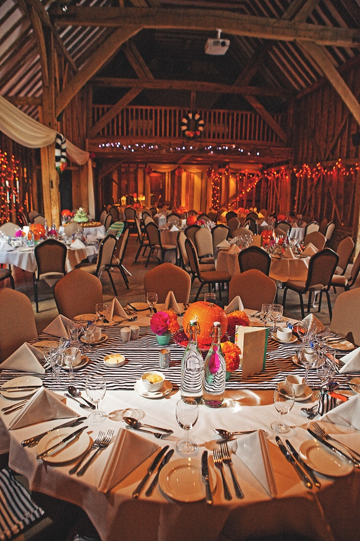 Crazy October wedding! .. maybe replace the colored flowers with white or light pink ones