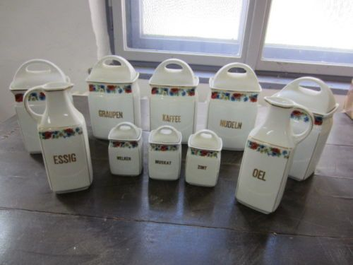 SCHÜTTEN-DOSEN - ETAGERE - Kaffee, Nudeln, Essig, Öl - Bunt Bemalt - um 1920 | eBay 110,--