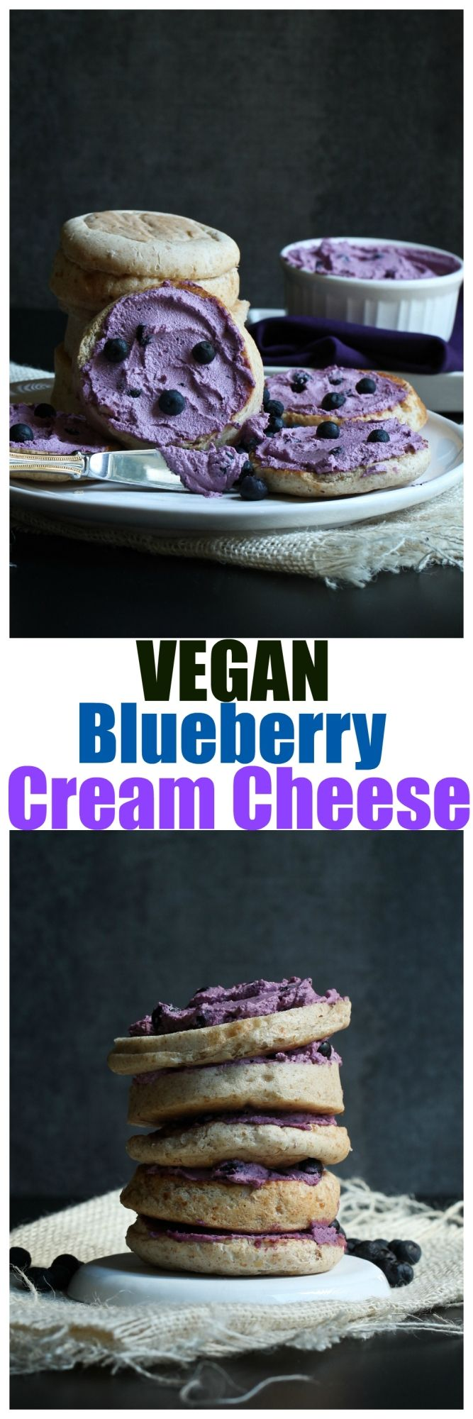 Vegan Blueberry Cream Cheese. Homemade, dairy-free cashew cream cheese. No oil and made in a food processor with fresh blueberries. Better than storebought.