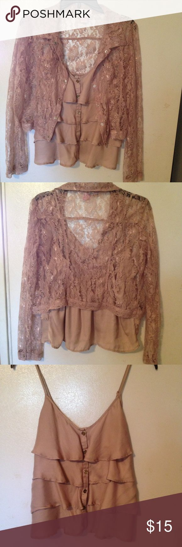 Body Central 2 piece beige blouse size M Body Central beige layered camisole size large with long sleeve lace jacket size M Body Central Tops Blouses