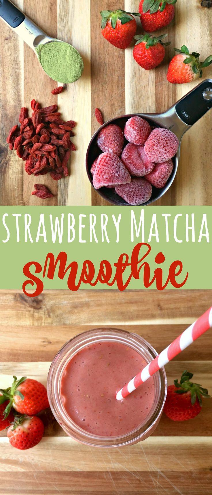 Full of beneficial properties and yummy flavor, this healthy strawberry matcha smoothie is quick and simple to blend up any time of the day.