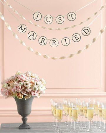 "Clip art for custom banners, like this ""Just Married"" sign #marthastewartweddings #diy"