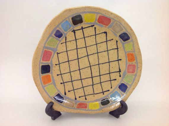 Color checker party  hand made big serving plate by shinosworld, $120.00