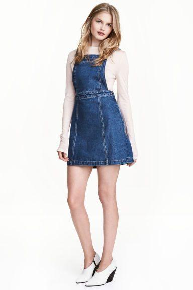 Denim dungaree dress - Dark denim blue - Ladies | H&M CA