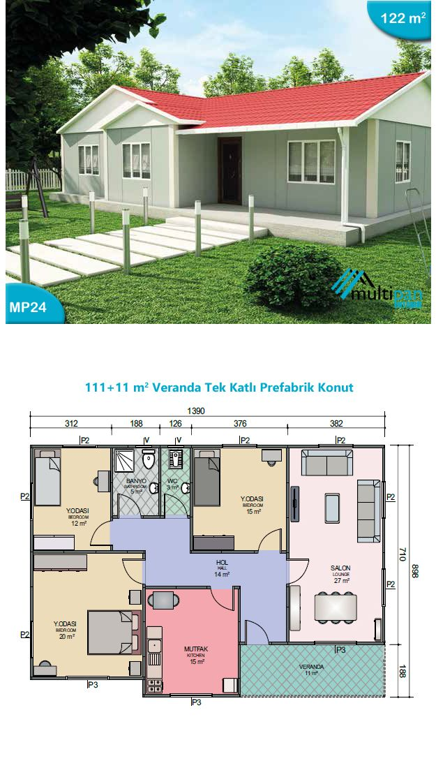 MP24 111m2 + 11m2 3 Bedrooms, 2 Bathrooms, Separate Lounge, Kitchen, Veranda