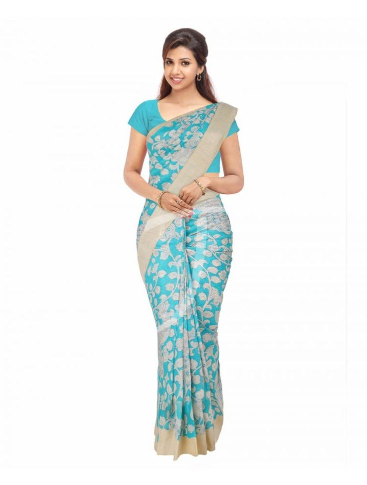 Chanderi Silk Light Blue Colour Saree with Dual Size Borders