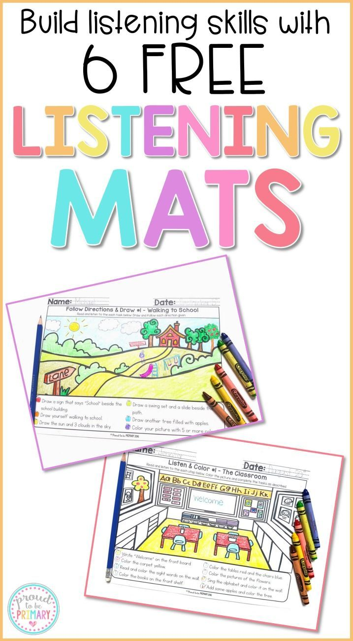 Help kids practice and build their listening skills and following instructions at school daily with these FREE Listening Mats. The activities are great for whole group or small group instruction, homework, centers, fast finishers, and morning work.