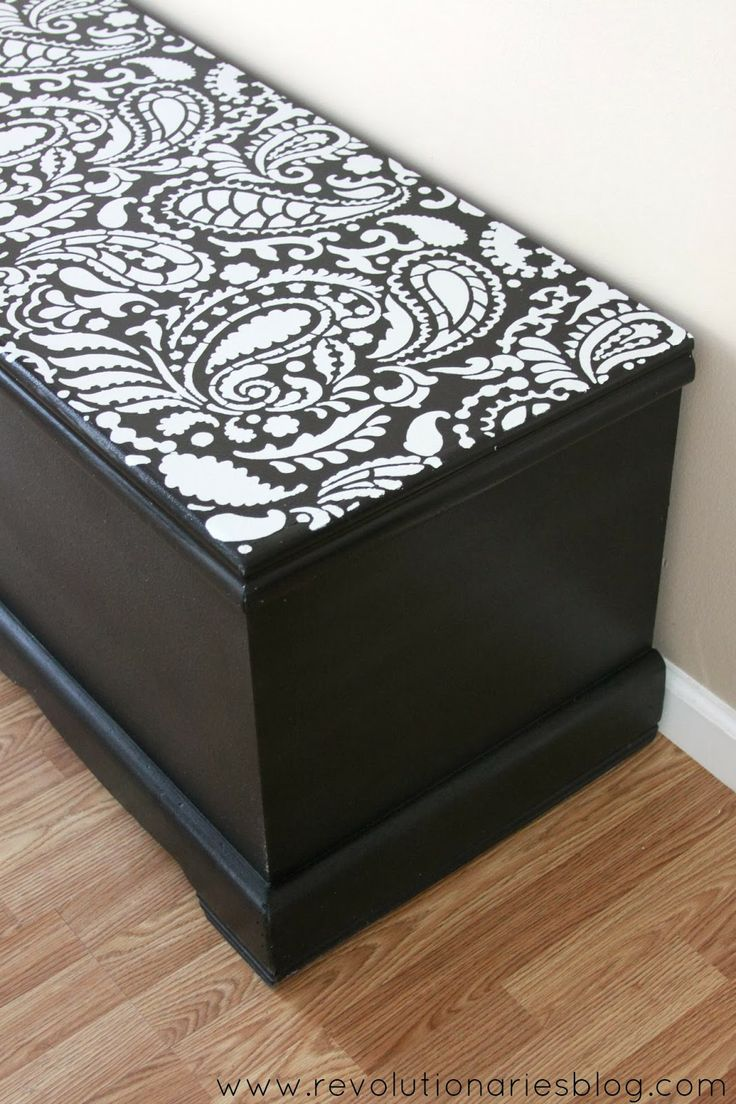before and after paisley painted cedar chest