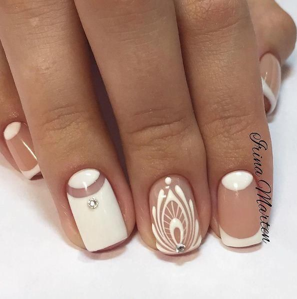 Bridal nails, Fashion nails 2017, French manicure ideas 2017, French manicure news 2017, Ideas of gentle nails, mix match nails, Moon French manicure, Nails ideas 2017