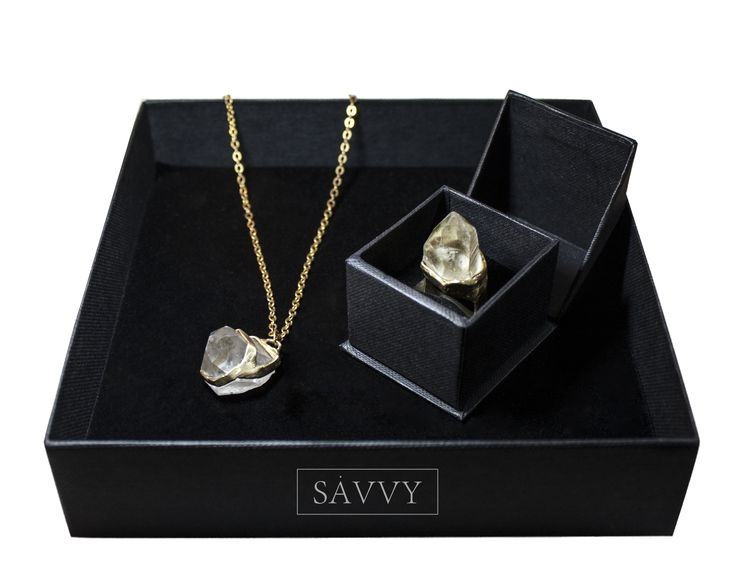 Crystal necklace + ring // brass  SAVVY jewellery, Poland  https://www.facebook.com/SAVVYjewellery