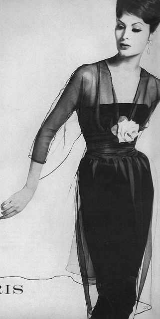 Vogue, September 1959.  Isabella Albonico wearing a black sheath dress with a 'shadow' of grey organdie draped over the top, by designer, Jacques Heim. Photographed by Irving Penn.