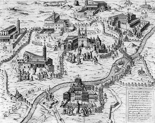 "The Seven Churches is a beautiful circa 1575 print showing pilgrims going to Rome's ""seven pilgrim churches."" The first four are major basilicas: St. Peter's (at the bottom), Saint Paul Outside the Walls, St. Mary Major, and St. John Lateran. The other three churches, which are considered minor basilicas, are St. Lawrence Outside the Walls, the Holy Cross in Jerusalem, and St. Sebastian Outside the Walls. The print clearly depicts the ancient walls of Rome and the Vatican defenses."