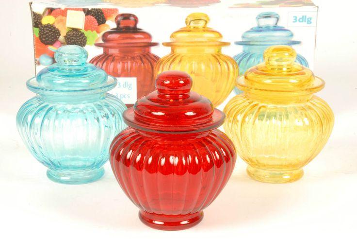 Set of 3 Pretty Coloured Glass Sweet Jars Storage Jars Candy Jars Bathroom Jars #PNS
