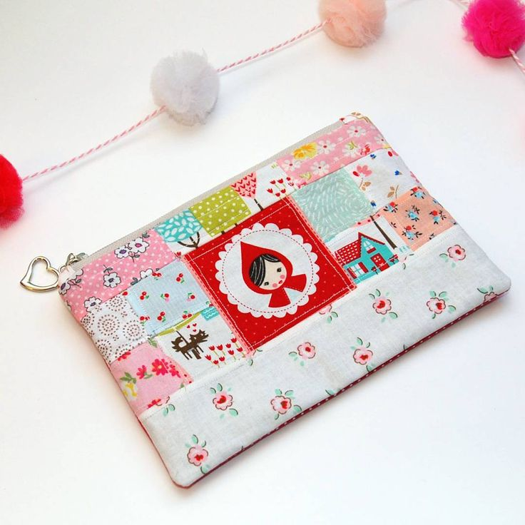 """""""Little Red Riding Hood Scrappy Pouch Done and oooohhh sew cute!   Handmade bags   handmade wallet   sew sweet sidekicks   scrappy   quilted   fabricscraps phonecase   phonewallet   phonepurse   phonewristlet   wristlet   clutch   Little red riding hood   Makeup bag   Accessory bag Makeup Bags   Makeup Case   Cosmetics Case   Cosmetics Bag   Cosmetics Essentials   Zipper Bag   Zipper Pouch   Zipper Case   Travel Case   Travel Makeup Case   Clutch   Wristlet"""
