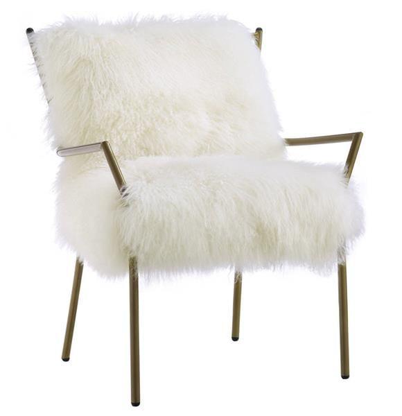 Lena White Rose Gold Sheepskin Iron Living Room Chair