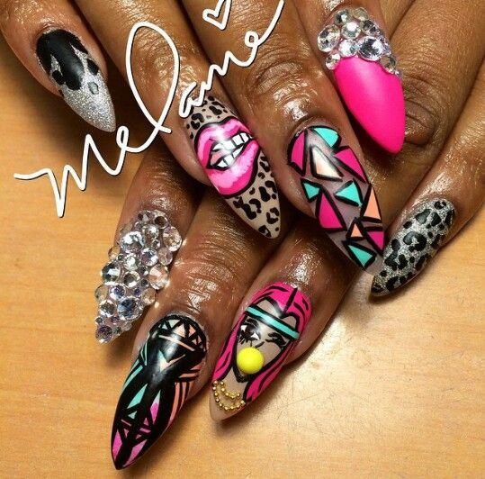 Stiletto nails   Nail art designs   ghetto nail art ideas   bling nails